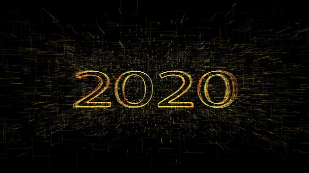 3d рендеринг 3d золотой золотой желтый 2020 линии света фон, для веселого рождества и счастливого нового года.