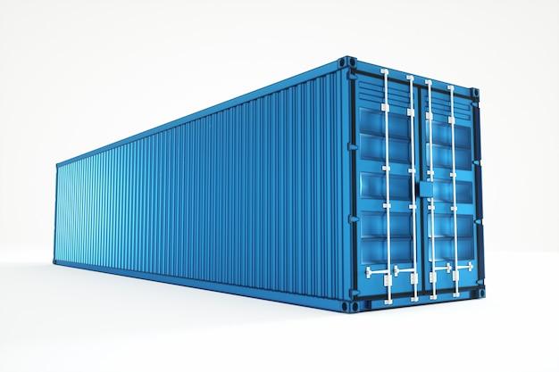 Контейнер голубого моря изолированный на белой стене. концепция логистики, доставки, интернет-магазин, производство. 3d-рендеринг, 3d-визуализация, 3d иллюстрации.