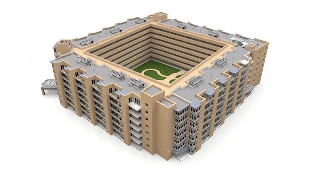 Кондоминиум 3d модель. жилой дом с двором. 3d-рендеринг.