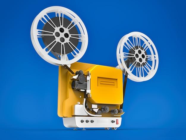 Желтый 3d кинопроектор, изолированные на синем фоне. 3d-рендеринг.