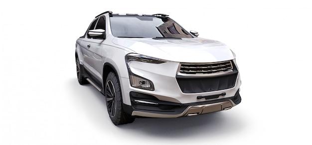 Иллюстрация 3d белого грузового пикапа концепции на предпосылке изолированной белизной. 3d-рендеринг.