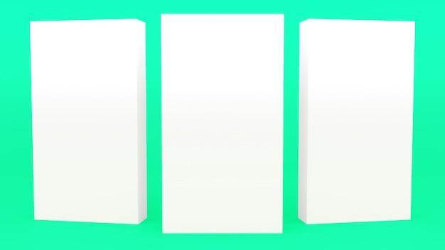 Рекламный стенд баннер белый минимальный 3d рендеринг современный минималистичный макет, пустая витрина 3d визуализации