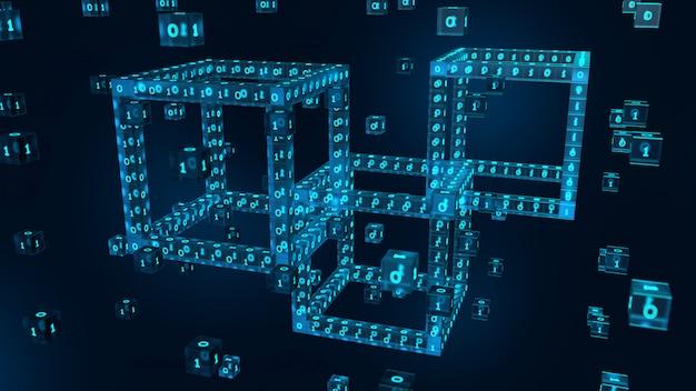 デジタルコードを使用した3dデジタルブロック。ブロックチェーン3dレンダリング。