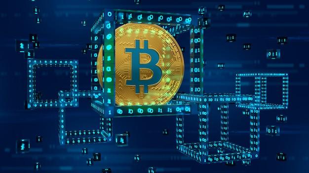 ビットコイン。デジタルコードを使用したブロック内の3d物理ゴールデンビットコイン。ブロックチェーン3dレンダリング。