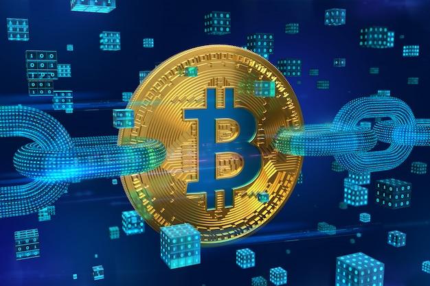 ビットコイン。ワイヤーフレームチェーンとデジタルブロックを備えた3d物理ゴールデンビットコイン。ブロックチェーン3dレンダリング。