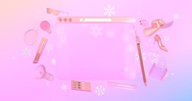 3dウェブサイトアイコンと3dショッピングオブジェクトの背面には雪のアイコンがあります。