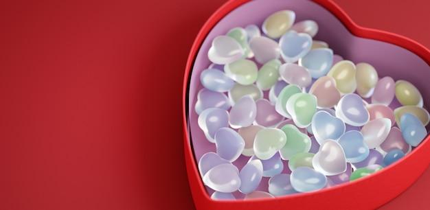 Концепция для дня святого валентина. коробка с разноцветными сердечками. копировать пространство 3d иллюстрации 3d визуализация.