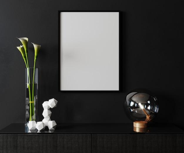 Макет постер кадр в современном черном фоне интерьера, скандинавский стиль, 3d визуализации, 3d иллюстрации