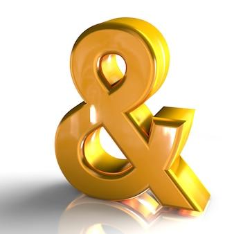 В знак символ 3d золотой цвет 3d визуализации, изолированных на белом фоне