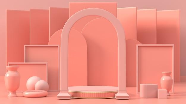 3d визуализации розового геометрического подиума для продукта или рекламы 3d абстрактного подиума