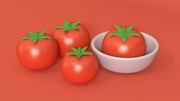 3d томатный мультяшный стиль с чашкой 3d визуализации