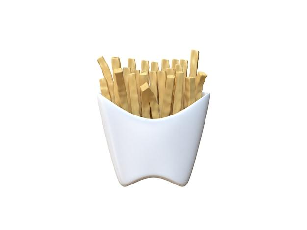 3d абстрактный картофель фри в белой коробке мультяшном стиле белый 3d-рендеринг
