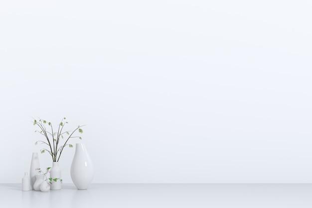 プラント3dレンダリング、3dイラスト付きの白い空の部屋
