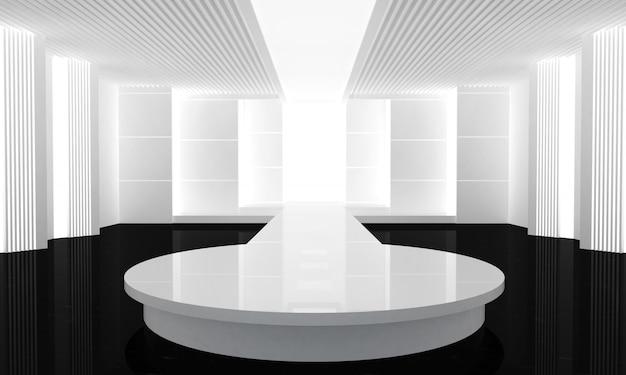 Иллюстрация 3d взлётно-посадочная дорожка моды пустая. перед показом мод. 3d визуализация
