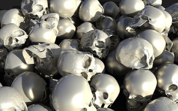 白と銀の光沢のある頭蓋骨、3dイラストレーション、3dレンダリング、ハロウィンホリデーの山。
