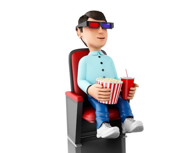 3d человек в кино и есть попкорн с 3d-очки.