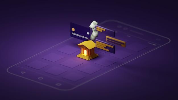 スマートフォンの3dレンダリング銀行アプリケーション。 3dイラストレーター。