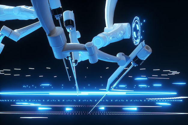 Робот хирург, робототехника. минимально инвазивные хирургические инновации с трехмерным обзором. технологии, будущее медицины, хирург. 3d визуализация, 3d иллюстрации.