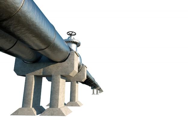 パイプラインは、白い壁に分離され、パイプを通じて石油とガスを輸送します。技術、政治、原材料、経済学。コピースペース。 3dレンダリング、3dイラストレーション。