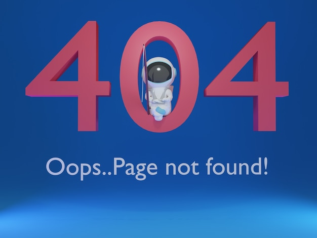 3d 404 not found page with cute astronaut fishing