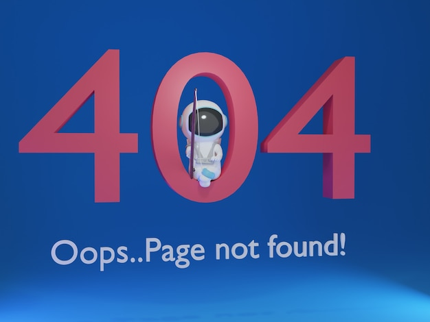3d 404 page with astronaut