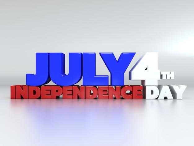 3d текст 4 июля на белом