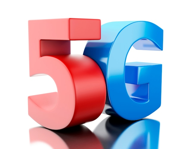 3d 5g wireless technology sign.
