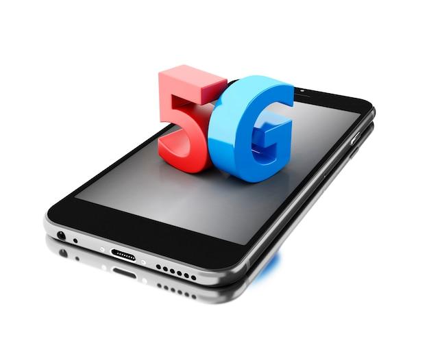 3d 5g記号の携帯電話。