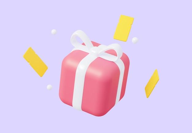 3d подарок крупным планом с летающими купонами его можно использовать для маркетинга и рекламы