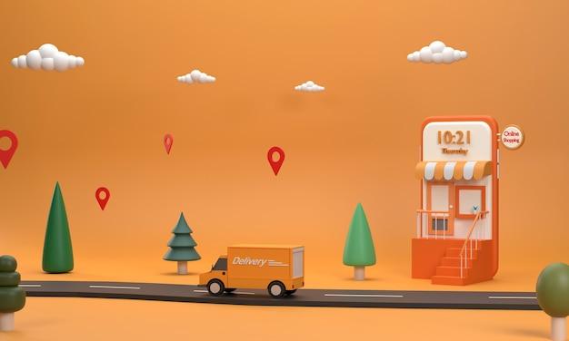 3d. по дороге едет курьер. для отправки посылок из интернет-продаж. мобильные телефоны, интернет-магазины, транспорт, интернет-магазины.