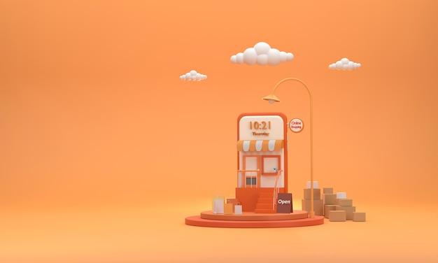 3d мобильный телефон, который управляет интернет-магазином на подиуме с коробками для посылок и бумажными пакетами.
