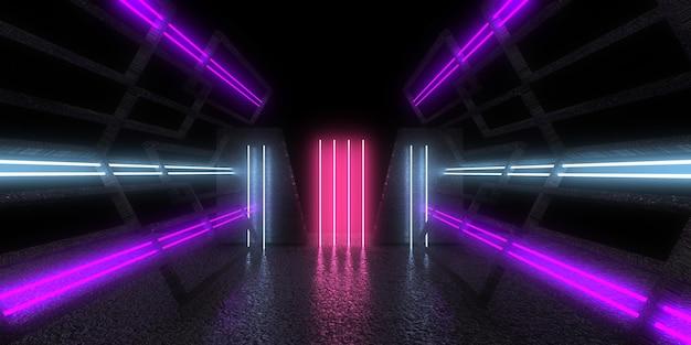 네온 불빛으로 3d 추상 건축 배경