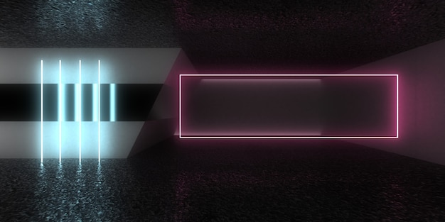 3d абстрактный архитектурный фон с неоновыми огнями