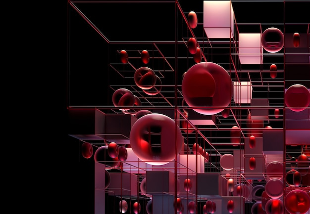 3d abstract art 3d background with geometry figures as balls cubes and torus composition in red