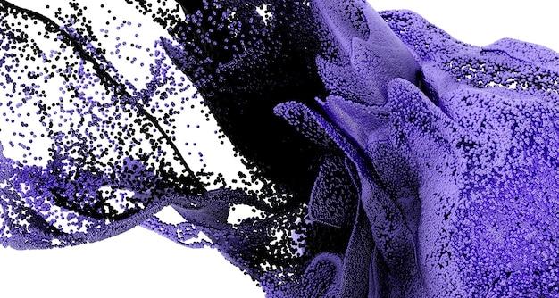 흰색에 보라색 색상의 초현실적 인 연기 유체 구름과 3d 추상 미술 3d 배경