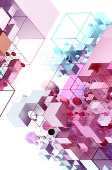 大小の幾何学図形に基づくアイソメビューの3d抽象芸術の背景