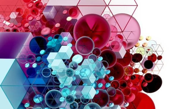 3d abstract art background with part of cube based on small balls and boxes in wire structure