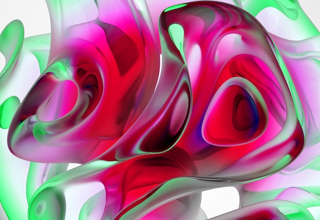 3d abstract art background with part of glass sculpture in organic curve