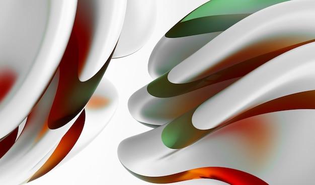 有機曲線の3d抽象芸術シュールな3d背景丸い波状の生物学的線の形