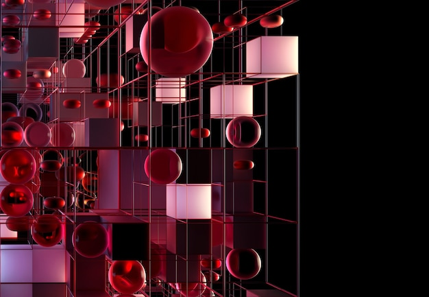 3d abstract art with 3d geometry figures as cubes spheres and torus in purple and red metal color