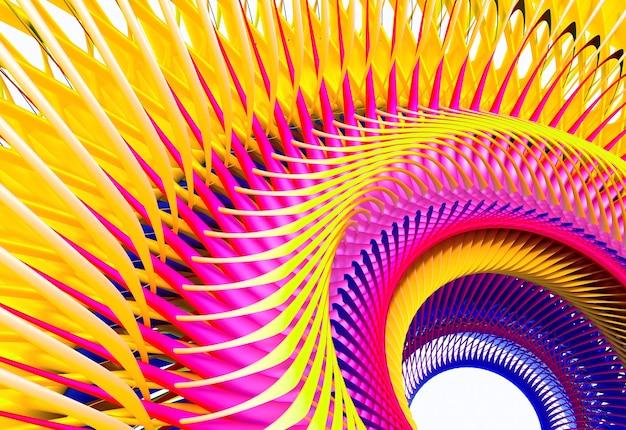 黄色と紫の色のシュールなタービンジェットエンジンまたは太陽の花の一部と3d抽象芸術