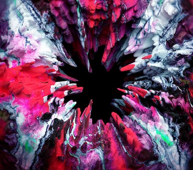 ブラックホールとシュールな有機不気味な不気味な石の岩の丸い構造を持つ3d抽象芸術