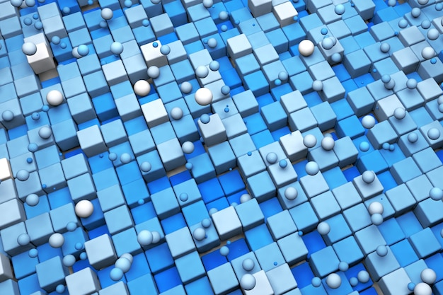 3d abstract background of blue squares and circles