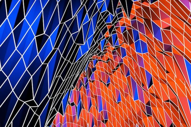 3d抽象的な背景カラフルな装飾、青と赤のパターン、3dイラスト。カバーテンプレート、幾何学的形状、モダンな最小限のバナー。