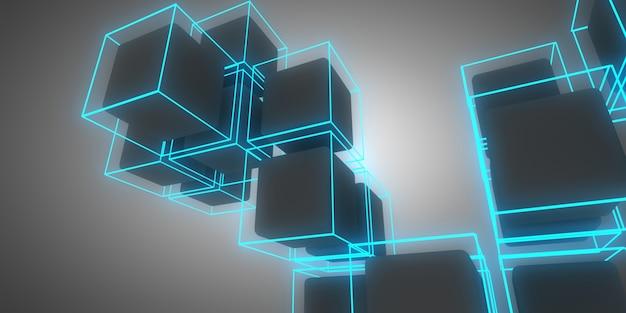 3d кубики абстрактный фон с неоновыми огнями