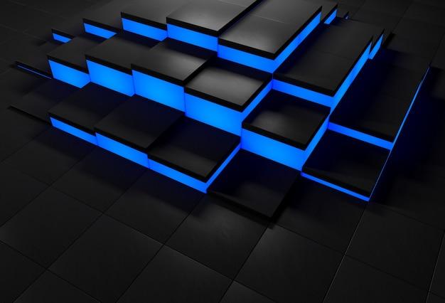 輝く青いエッジを持つ黒い立方体と3d抽象的な背景