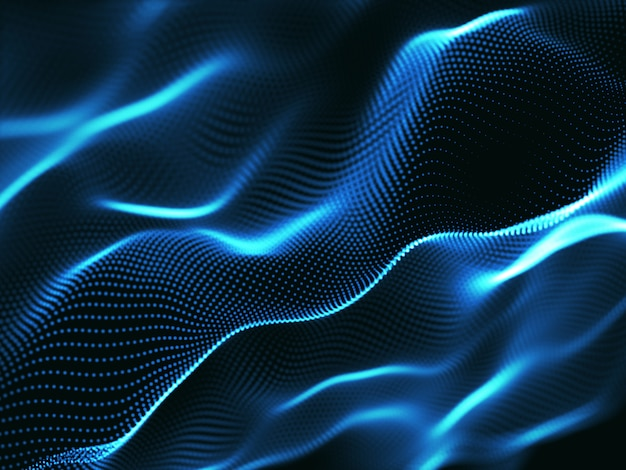 3d abstract background with cyber dots, network communications, motion flow