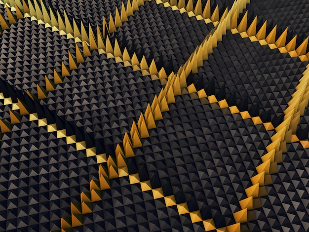 3d abstract background with extruding pyramids