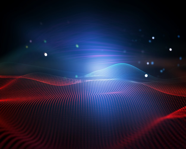 3d abstract background with flowing dots, digital landscape, modern connections