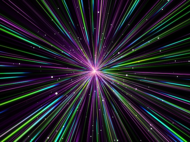3d abstract background with hyperspace zoom effect